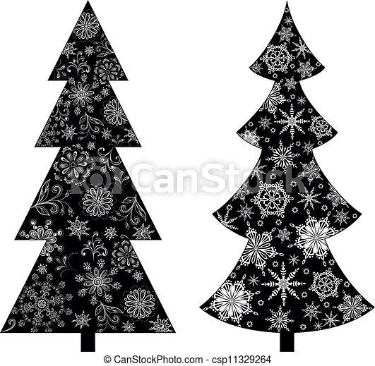 Christmas Trees Silhouette