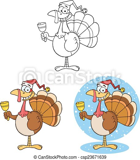 Christmas Turkey Ringing A Bell - csp23671639