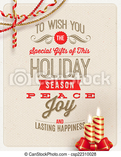 Christmas type design, holidays decoration and candles on a cardboard background - vector illustration - csp22310028