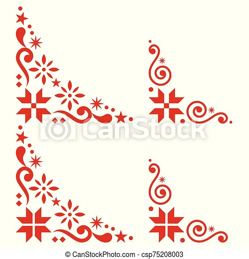 Christmas Vector Corner Set Scandinavian Style Folk Design Elements With Snowflakes In Red On White Background Retro