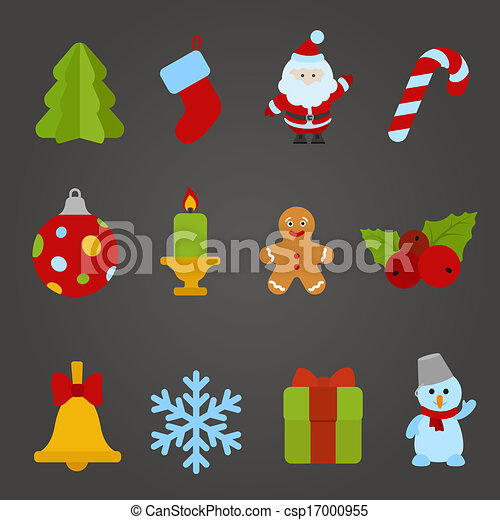 Christmas Vector Flat Design Icon Set Happy New Year Theme Collection