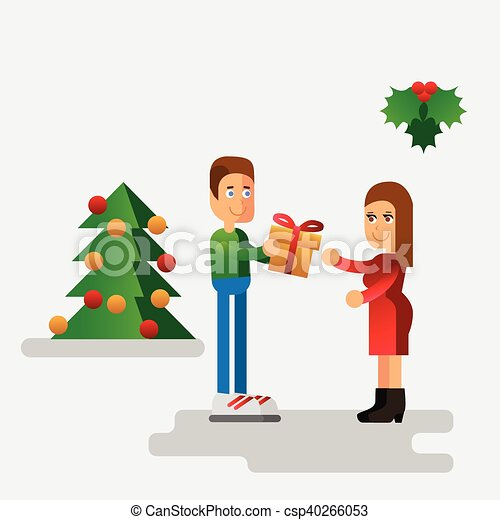 Christmas Giving Clipart.Christmas Vector Flat Illustration With Man Giving A Gift For Woman