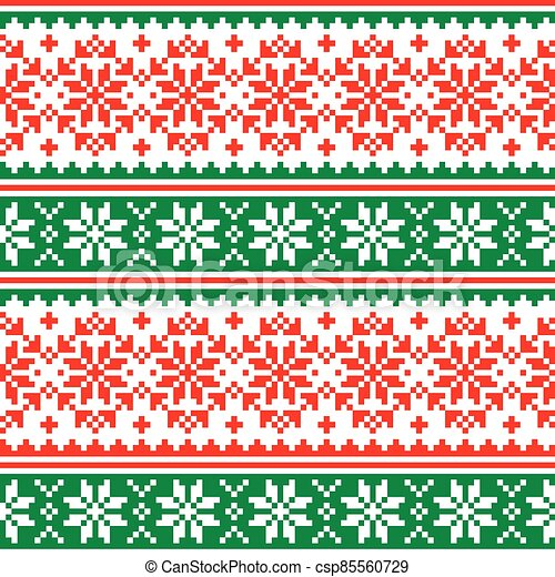 Christmas vector seamless pattern in red and green -  Scandinavian knnitting, cross-stitch design with snowflakes - csp85560729