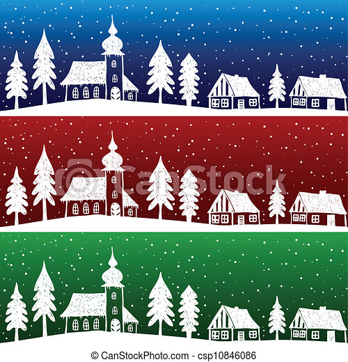 Christmas village with church seamless pattern - csp10846086