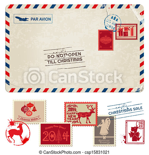 Christmas Vintage Postcard with Postage Stamps - for design, scrapbook - in vector - csp15831021