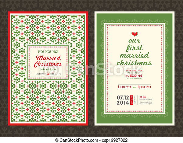 Christmas wedding invitation card template - csp19927822