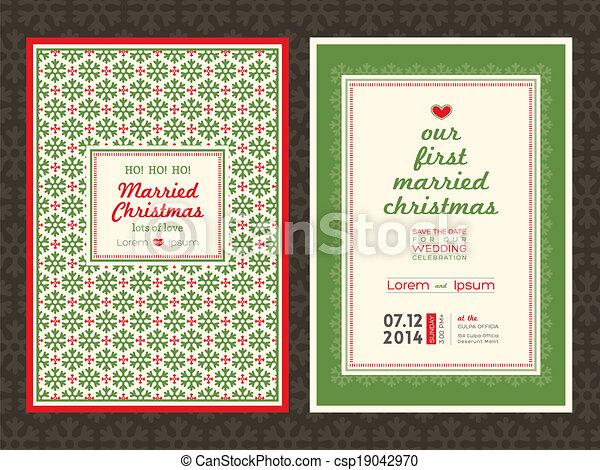 Christmas wedding invitation card template - csp19042970