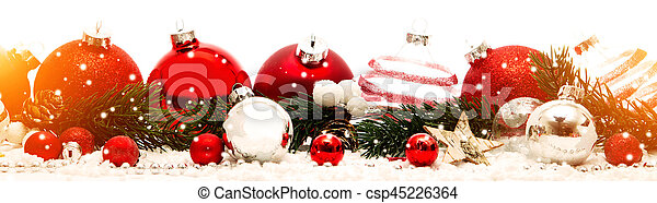 Christmas white background with christmas balls and decoration - csp45226364