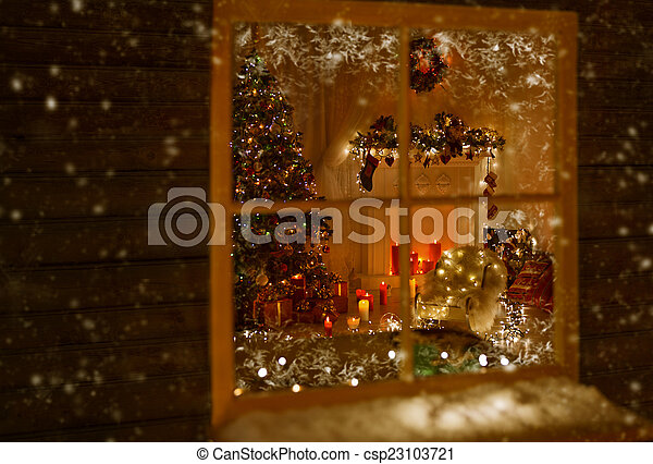 christmas window holiday home lights room decorated by xmas csp23103721