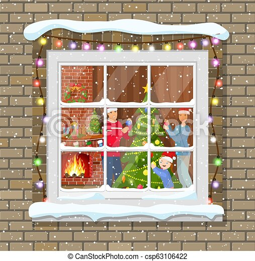 Christmas Window.Christmas Window In Brick Wall