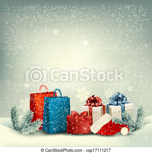 Christmas winter background with presents. Vector. - csp17111217