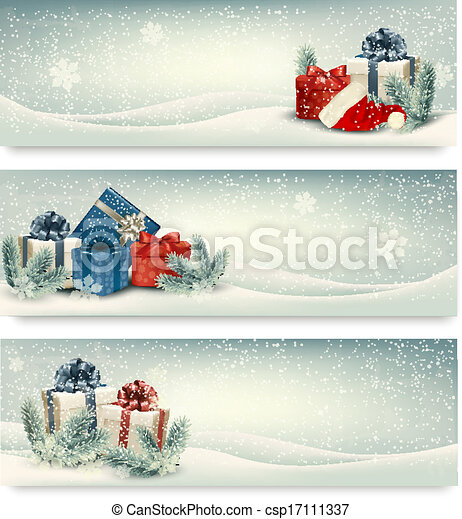Christmas winter banners with presents. Vector. - csp17111337