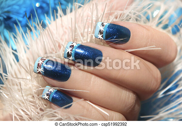 Christmas Winter Blue Design French Manicure Christmas Winter Blue