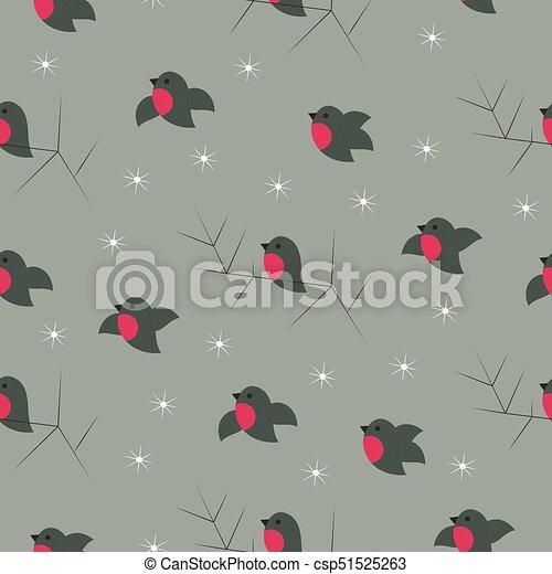 Christmas winter cute bullfinches seamless pattern - csp51525263