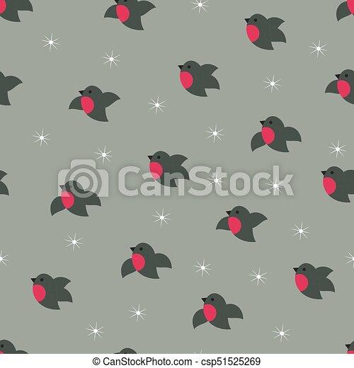 Christmas winter cute bullfinches seamless pattern - csp51525269