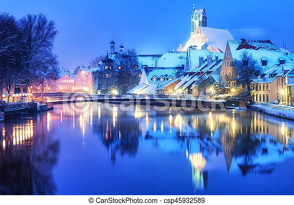 Munich Germany Christmas.Christmas Winter Evening In Small German Town Germany