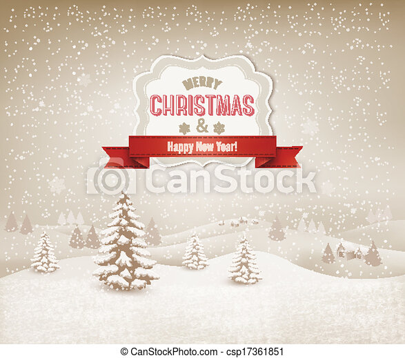 Christmas winter landscape background - csp17361851
