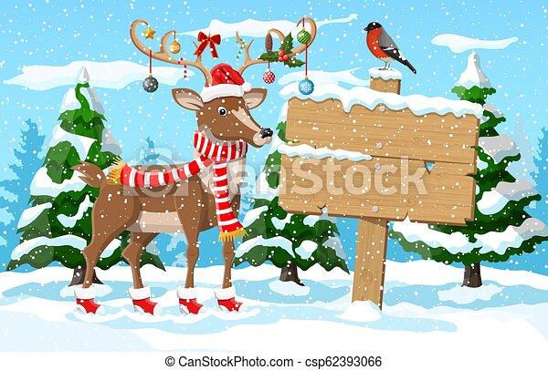 Christmas winter landscape - csp62393066