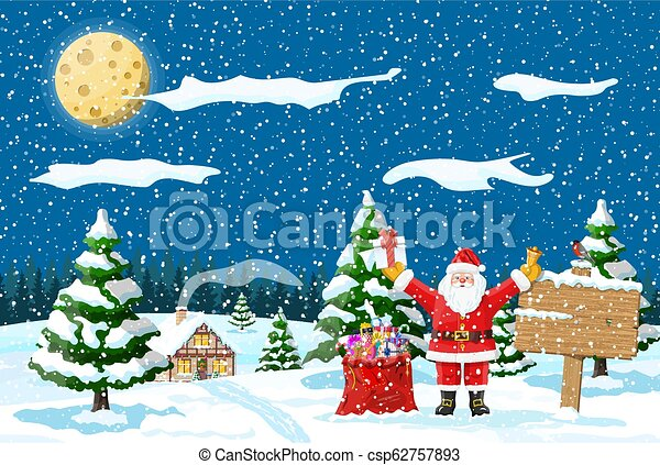 Christmas winter landscape - csp62757893