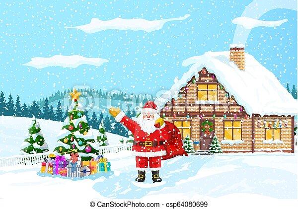 Christmas winter landscape - csp64080699