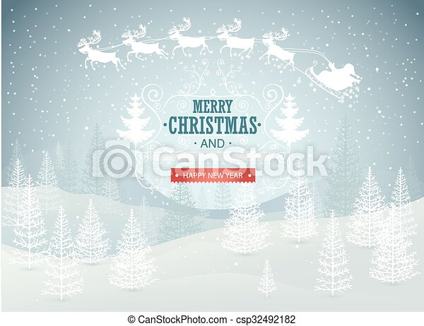 Christmas winter landscape - csp32492182