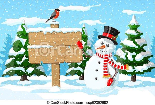 Christmas winter landscape - csp62392982