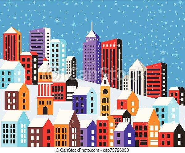Christmas winter landscape - csp73726030