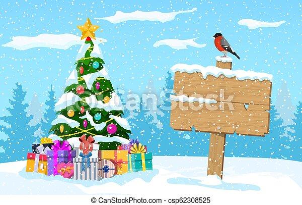 Christmas winter landscape - csp62308525
