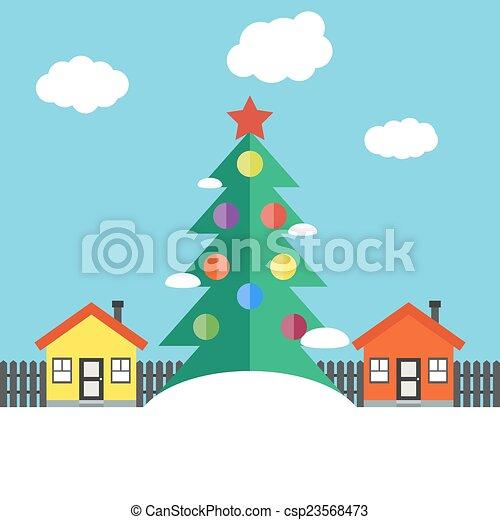 Christmas winter landscape - csp23568473