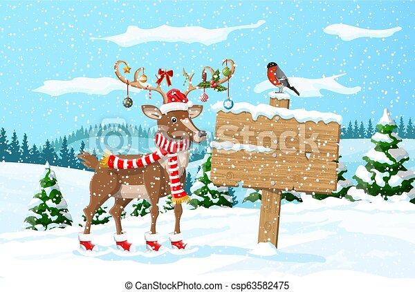 Christmas winter landscape - csp63582475