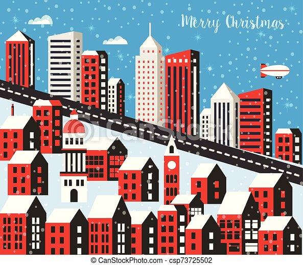 Christmas winter landscape - csp73725502