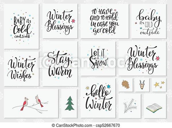 christmas winter season lettering typography set merry christmas
