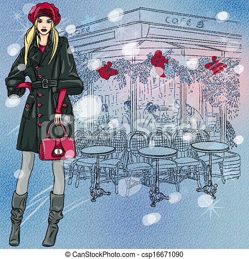 Christmas winter sketch of the beautiful fashionable girl near the Parisian cafe with Christmas decorations - csp16671090