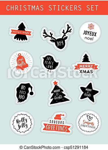 christmas winter stickers set labels tags design elements and