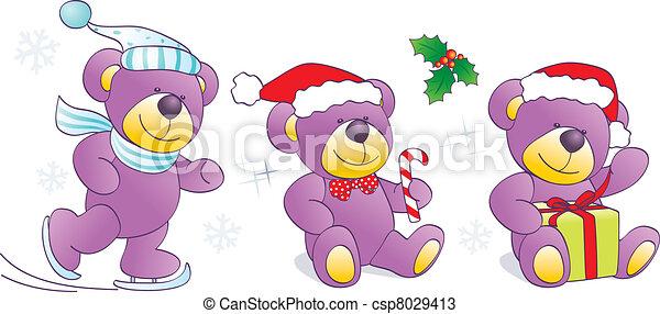 Christmas, winter Teddy bears - csp8029413