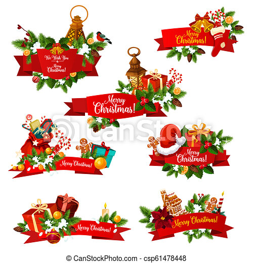 Christmas Wishes Card.Christmas Wish Greeting Ribbons Vector Icons
