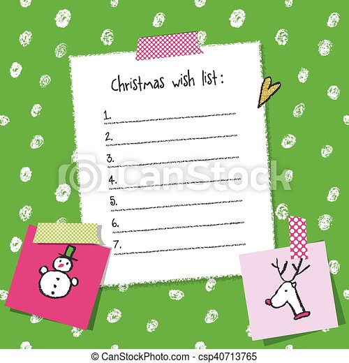 Christmas Wish List Template. Hand Drawn Elements. Printable Design.    Csp40713765