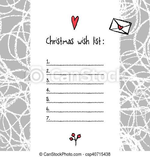 Christmas Wish List Template Hand Drawn Elements Printable Design