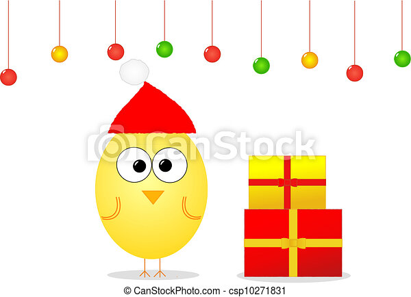 Christmas with bird and gifts - csp10271831