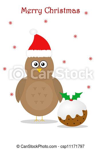 Christmas with bird and pudding - csp11171797
