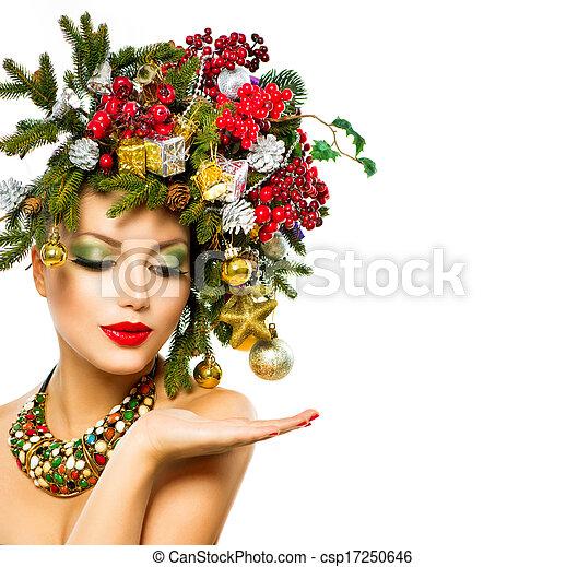 Christmas Woman. Beautiful Holiday Christmas Tree Hairstyle - csp17250646