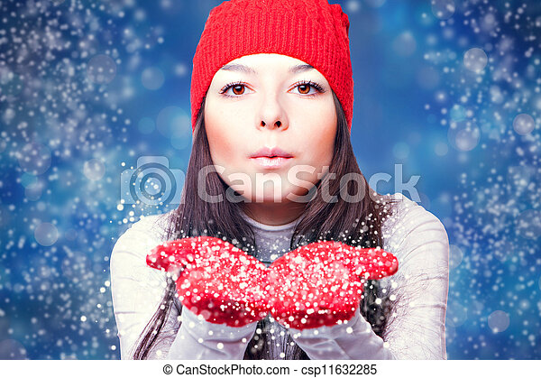 Christmas woman blowing snow - csp11632285