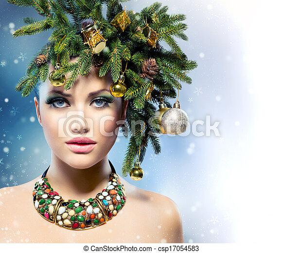 Christmas Woman Christmas Tree Holiday Hairstyle And Makeup
