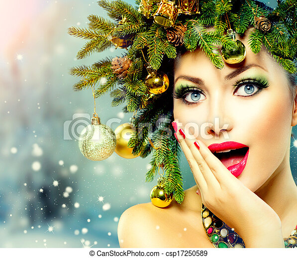 Christmas Woman. Christmas Tree Holiday Hairstyle and Makeup - csp17250589