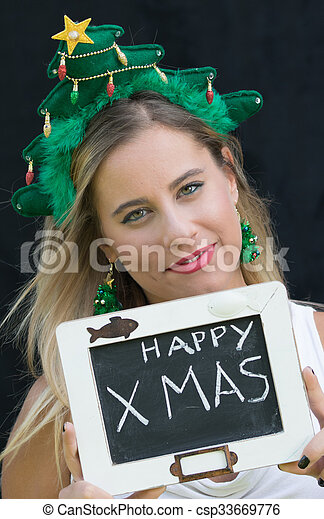 Christmas woman - csp33669776