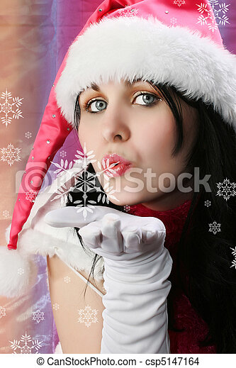 Christmas Woman with Snowflake - csp5147164