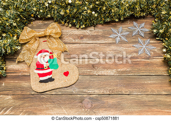 christmas wooden background with santa - csp50871881