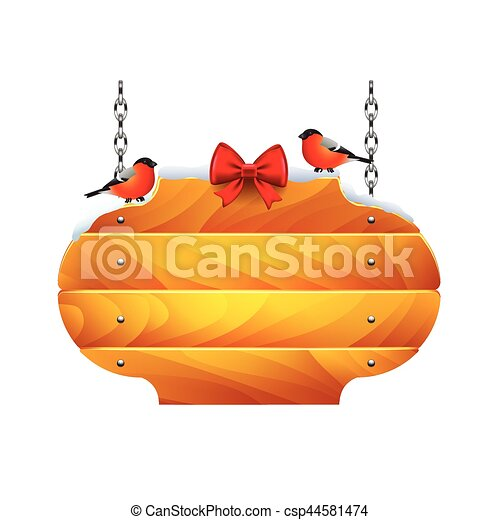 Christmas wooden sign with bullfinches isolated vector - csp44581474