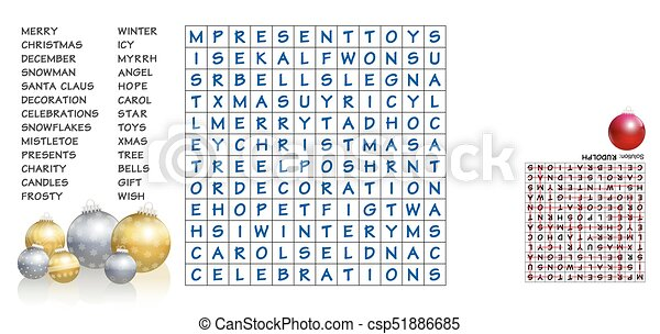 Christmas Crossword Puzzle.Christmas Words Search Puzzle