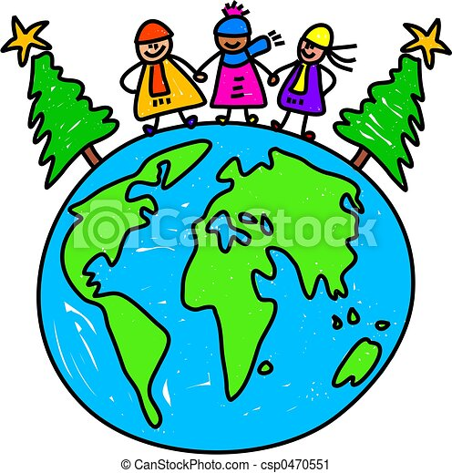 christmas world kids happy little kids standing on the clipart rh canstockphoto com christmas around the world clipart Christmas Decorations around the World